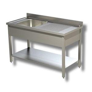 Lavatoio n.1 vasca - gambe quadre - con ripiano inferiore