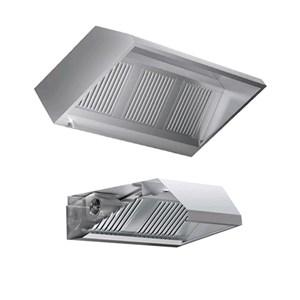 Cappa a parete autoaspirante in acciaio inox AISI 304 (con motore) - filtri a labirinto