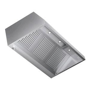 Cappa a parete in acciaio  AISI 430 (senza motore) - filtri a labirinto - Faretti alogeni
