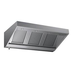 Cappa a parete tipo snack in acciaio  AISI 430 (senza motore) - filtri a labirinto - Faretti alogeni