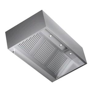 Cappa Cubika a parete in acciaio  AISI 430 (senza motore) - filtri a labirinto - Faretti alogeni
