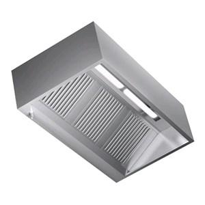 Cappa Cubika a parete in acciaio  AISI 430 (senza motore) - filtri a labirinto - Illuminazione al neon
