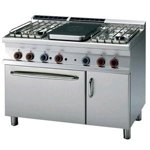 Cucina a gas tuttapiastra + 4 fuochi con forno elettrico Allforfood TPF4/712GPEV linea ELLE