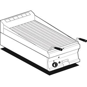 GRIGLIA A PIETRA LAVICA TOP A GAS - MOD. CWT/64G - Griglia in acciaio inox - Dimensioni: cm L 40 x P 60 x H 28 - Norma CE