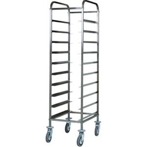 CARRELLO PORTAVASSOI - MOD. CA1450 - Struttura in acciaio inox - Guide in acciaio inox - Portata n. 10 vassoi GN 1/1 (cm 53x32,5) - Dim. cm L 38 x P 62 x h 175