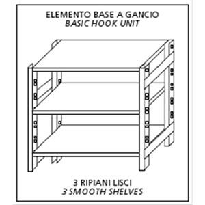 Scaffale inox a gancio - Elemento base - Altezza cm 150 - 3 ripiani lisci spessore cm 2,5 inox 8/10 - completi di traverso di rinforzo e piedini plastica - bordi antitaglio - finitura lucida - predisposto per fissaggio a muro - elemento base