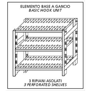 Scaffale inox a gancio - Elemento base - Altezza cm 150 - 3 ripiani forati spessore cm 2,5 inox 8/10 - completi di traverso di rinforzo e piedini plastica - bordi antitaglio - finitura lucida - predisposto per fissaggio a muro - elemento base