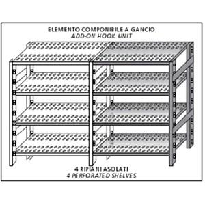 Scaffale inox a gancio - Elemento componibile - Altezza cm 200 - 4 ripiani forati spessore cm 2,5 inox 8/10 - completi di traverso di rinforzo e piedini plastica - bordi antitaglio - finitura lucida - elemento componibile (da comporre con elemento base)
