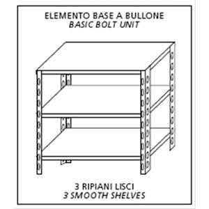 Scaffale inox a bullone - Elemento base - Altezza cm 150 - 3 ripiani lisci spessore cm 2,5 inox 8/10 - completi di bulloni e piedini plastica - bordi antitaglio - finitura lucida - predisposto per fissaggio a muro - elemento base