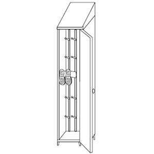 Armadio portastivali in acciaio inox 304 - n. 1 anta battente - Dim. cm  L50xP50xH215