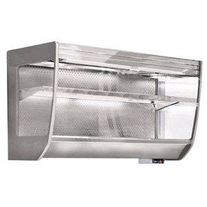 ESPOSITORE PENSILE REFRIGERATO VENTILATO - MOD. TITTI VT Glass - Unità condensatrice remota esclusa - In acciaio inox AISI 304 - Spalle interamente in vetrocamera