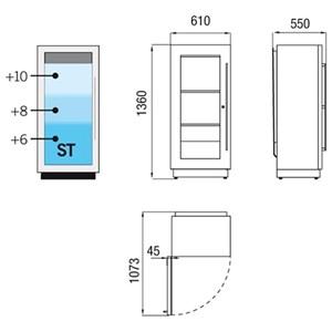 VETRINA REFRIGERATA PER VINO A MURO - MOD. FLORIDA SMALL - REFRIGERAZIONE STATICA - TRE DIFFERENTI TEMPERATURE NELLA STESSA UNITA': °C +4 / +6 / +8 - N. 1 PORTA BATTENTE IN VETROCAMERA A BASSA EMISSIVITA' - STRUTTURA REALIZZATA CON PANNELLO ISOLANTE IN LEGNO LAMINATO - POTENZA W 150 - ALIMENTAZIONE MONOFASE 230V/1/50Hz - GAS REFRIGERANTE R290 - NORMA CE