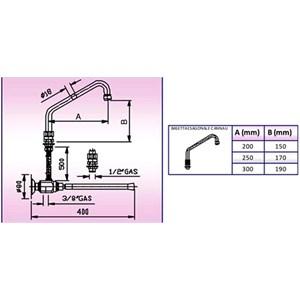 RUBINETTO PER LAVELLO E LAVAMANI A GINOCCHIO CON EROGATORE Mod. RLG - Asta di comando in PVC - Erogatore basetta esagonale - Con canna ad U