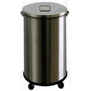 PORTARIFIUTI CARRELLATO IN ACCIAIO INOX - MOD. AV4671 - Struttura a forma cilindrica in acciaio inox - Con coperchio - Ruote - Secchio interno - Capacità Lt. 63 -  Dim. Ø cm 39 x H 60