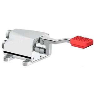 RUBINETTO PER LAVELLO/LAVAMANI A PEDALE Mod. RMP - Leva di comando colore rosso per acqua calda