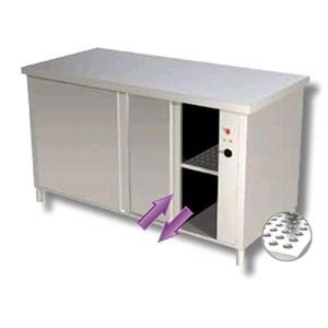 Tavolo caldo armadiato inox con ante scorrevoli su due lati - piano top spessore cm 4 - Potenza W 2000 - Alimentazione monofase 230v/1/50Hz