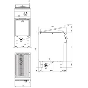 GRIGLIA A PIETRA LAVICA A GAS - Mod. FN72HMH - VANO A GIORNO - Potenza kW 8,5 - Dimensioni cm L 40 X P 70 X H 90 - Norma CE