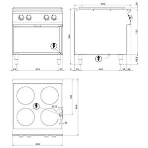 Cucina elettrica tuttapiastra Allforfood FN94UQF linea E-LINE
