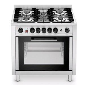 Cucina a gas 5 fuochi con forno elettrico a convezione Tecnoeka EKC96 linea TEK