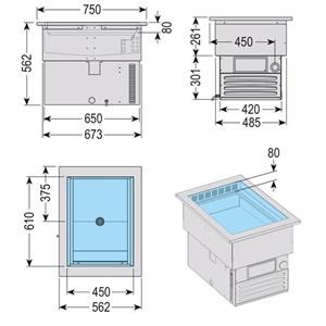 VASCA ESPOSITIVA DA INCASSO REFRIGERATA - MOD. ARMONIA 64  - PER PASTICCERIA - Temp. °C +4/+10 - ALIMENTAZIONE MONOFASE V 230/1/50 Hz - REFRIGERAZIONE VENTILATA - Gas refrigerante R290 - SBRINAMENTO AUTOMATICO A PAUSA