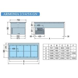 VASCA ESPOSITIVA DA INCASSO REFRIGERATA - MOD. ARMONIA GN - PER GASTRONOMIA - Temp. °C +4/+10 - ALIMENTAZIONE MONOFASE V 230/1/50 Hz - REFRIGERAZIONE STATICA - GAS REFRIGERANTE R290 - SBRINAMENTO AUTOMATICO A PAUSA