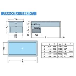 VASCA ESPOSITIVA DA INCASSO CON PIANO REFRIGERATO - MOD. ARMONIA BRINA - Temp. °C -1/0 - ALIMENTAZIONE MONOFASE V 230/1/50 Hz - REFRIGERAZIONE STATICA - Gas refrigerante R290 - SBRINAMENTO MANUALE