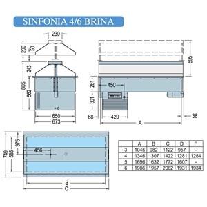VASCA ESPOSITIVA DA INCASSO CON PIANO REFRIGERATO - MOD. SINFONIA BRINA - Temp. °C -1/0 - CUPOLA CON SISTEMA DI SOLLEVAMENTE ELETTRICO - ALIMENTAZIONE MONOFASE V 230/1/50 Hz - REFRIGERAZIONE STATICA - Gas refrigerante R290 - SBRINAMENTO MANUALE