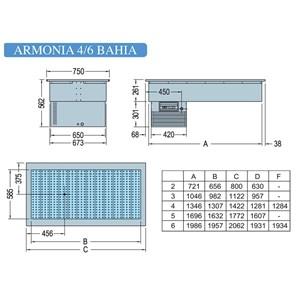 VASCA ESPOSITIVA DA INCASSO REFRIGERATA PER PESCE E CARNE - MOD. ARMONIA BAHIA - TEMPERATURA °C -2/0 - REFRIGERAZIONE STATICA - ALIMENTAZIONE MONOFASE V 230/1/50 Hz - Gas refrigerante R290 - VASCA IN ACCIAIO INOX AISI 316 RESISTENTE ALLA CORROSIONE SALINA - SBRINAMENTO AUTOMATICO A PAUSA