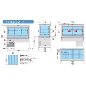 VASCA DA INCASSO CON VETRINA REFRIGERATA - MOD. STYLE VASCA VFS - PER GASTRONOMIA - POTENZA W 380 - TEMPERATURA °C +4/+10 - REFRIGERAZIONE VENTILATA - Gas refrigerante R290 - SBRINAMENTO AUTOMATICO A PAUSA - ALIMENTAZIONE MONOFASE V 230/1/50 Hz - DIMENSIONI cm 142,3 x 75 x 103,2 H - PESO Kg 136