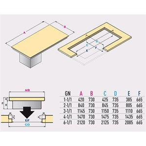 PIANO QUARZO FREDDO DA INCASSO - MOD. QUARZO DI/PRF - PER GASTRONOMIA - PIANO IN AGGLOMERATO - TEMP. °C 0/+4 - ALIMENTAZIONE MONOFASE 230V/1/50HZ - REFRIGERAZIONE STATICA - GAS REFRIGERANTE R290 - COLORE PIANO: BIANCO O NERO