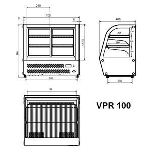 ESPOSITORE DA BANCO VETRINA REFRIGERATA SNACK IN ACCIAIO INOX AISI 430 - VETRO CURVO - Mod. G-VPR100 - Temperatura +2°/+8°C - Capacità Lt. 100 - Alimentazione monofase 230V/1/50Hz - Potenza W 150 - Dimensioni cm L 69,5 x P 46,2 x h 67 - Peso Kg 57
