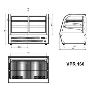 ESPOSITORE DA BANCO VETRINA REFRIGERATA SNACK IN ACCIAIO INOX AISI 430 - VETRO CURVO - Mod. G-VPR160 - Temperatura +2°/+8°C - Capacità Lt. 160 - Alimentazione monofase 230V/1/50Hz - Potenza W 160 - Dimensioni cm L 87,3 x P 58 x h 67 - Peso Kg 75
