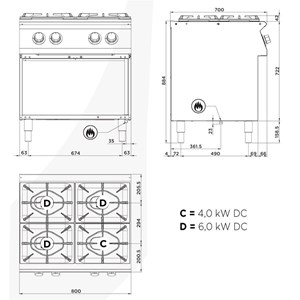 Cucina a gas 4 fuochi a doppia corona Allforfood FN74QDI/D linea E-LINE