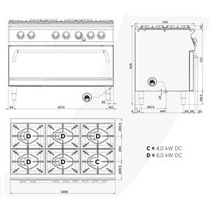 Cucina a gas 6 fuochi a doppia corona con forno maxi a gas Allforfood FN76DIM/D linea E-LINE