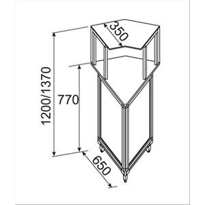 BANCO PIZZA / BAR / GASTRONOMIA NEUTRO - angolo squadrato esterno 45° - SEMILAVORATO DA PANNELLARE - MOD. BNA4510231 - VETRI ALTI - DIM. Cm L 65 x P 65 x h 137 - NORMA CE
