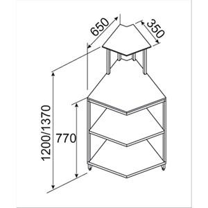 BANCO PIZZA / BAR / GASTRONOMIA NEUTRO - angolo squadrato interno 45° - SEMILAVORATO DA PANNELLARE - MOD. BNA4520231 - VETRI ALTI - DIM. Cm L 65 x P 65 x h 137 - NORMA CE