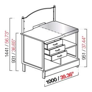 BANCO TABACCHI / TOTOCALCIO - SEMILAVORATO DA PANNELLARE - Lunghezza 100cm - MOD. CX91/10P - Con piano inox o con predisposizione per piano in marmo/granito/agglomerato -  DIM. Cm L 100 x P 72,8 x h 144,1