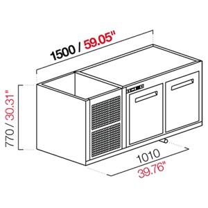 CELLA DA INCASSO BAR REFRIGERATA - MOD. CIR770/TN150 - Temperatura TN +4°C/+8°C - L. 150 cm - CON UNITA' CONDENSATRICE INCORPORATA