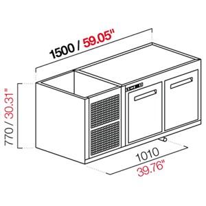 CELLA DA INCASSO BAR REFRIGERATA - MOD. CIR770/BT150 - Temperatura BT -18°C/-20°C - L. 150 cm - CON UNITA' CONDENSATRICE INCORPORATA
