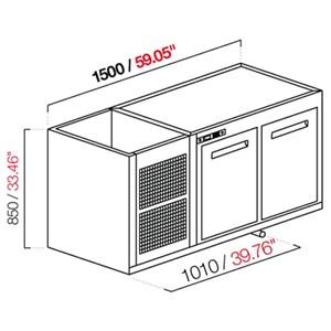 CELLA DA INCASSO BAR REFRIGERATA - MOD. CIR850/TN150 - Temperatura TN +4°C/+8°C - L. 150 cm - CON UNITA' CONDENSATRICE INCORPORATA
