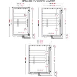 CELLA DA INCASSO BAR REFRIGERATA - MOD. CIR850/BT100 - Temperatura BT -18°C/-20°C - L. 100 cm - CON UNITA' CONDENSATRICE INCORPORATA