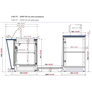 BANCO BAR E RETROBANCO - MOD. START UP L3500/DX H951 VT - CON VASCA REFRIGERATA PER L'ESPOSIZIONE DI FOOD & BEVERAGE A DESTRA - VETRO PER PROTEZIONE VASCA REFRIGERATA - N. 3 CELLE CON REFRIGERAZIONE VENTILATA - ALIMENTAZIONE V 230/50Hz MONOFASE - CON UNITA' CONDENSATRICE INCORPORATA - POSTAZIONE PER MACCHINA CAFFE' - LAVELLO CON MISCELATORE MONOLEVA - DIMENSIONI TOTALI Cm L 350 x P 232,5 x h 95,1