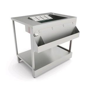 BANCO COCKTAIL - SEMILAVORATO DA PANNELLARE - MOD. B.COCKTAIL/10P - CON PIANO IN ACCIAIO INOX - DIM. cm L 100 x P 72,8 x h 95,1
