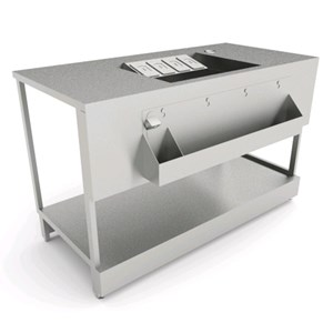BANCO COCKTAIL - SEMILAVORATO DA PANNELLARE - MOD. B.COCKTAIL/15P - CON PIANO IN ACCIAIO INOX - DIM. cm L 150 x P 72,8 x h 95,1