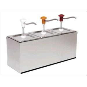 DOSATORE PER SALSE TRIPLO - Mod. DIS B3 - In acciaio inox aisi 304 - Adatto per salse fredde e dense - Capacità lt 3 x 3 - Porzione salsa  ml 30 x 3 regolabile - Dimensioni cm L 60,5 x P 20,5 x 43,5h - Norma CE