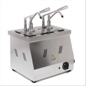 DOSATORE PER SALSE A BAGNOMARIA - Mod. DIS N2 - Bacinelle GN 1/6 200h - Adatto per salse calde ad alta viscosità e dense - Porzione salsa 40 ml regolabile - N. 2 pompe - Potenza W 1500 -Dimensioni cm L 40,5 x P 20,5 x 43,5h - Peso Kg 8 - Norma CE