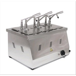 DOSATORE PER SALSE A BAGNOMARIA - Mod. DIS 03 - Bacinelle GN 1/4 200h - Adatto per salse calde ad alta viscosità e dense - Porzione salsa 40 ml regolabile - N. 3 pompe - Potenza W 2200 - Dimensioni cm L 60,5 x P 265 x 43,5h - Peso Kg 11 - Norma CE
