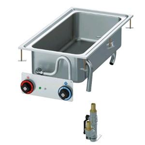 BAGNOMARIA ELETTRICO DA INCASSO - MOD. BMD/84EM - N. 1 vasca per 1 GN 1/1 + 1 GN 1/3 - Alimentazione monofase 230V - Potenza kW 2,85 - Dimensioni: cm L 40 x P 80 x H 30 - Norma CE