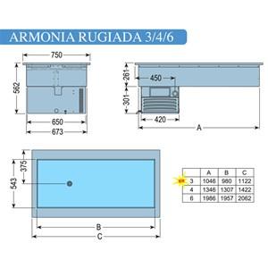 VASCA ESPOSITIVA DA INCASSO REFRIGERATA - MOD. ARMONIA RUGIADA  - PER GASTRONOMIA - Temp. °C -1/0 - ALIMENTAZIONE MONOFASE V 230/1/50 Hz - REFRIGERAZIONE STATICA - Gas refrigerante R290 - SBRINAMENTO MANUALE