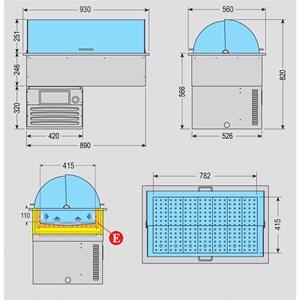 VASCA ESPOSITIVA DA INCASSO REFRIGERATA PER PESCE - MOD. NETTUNO - CUPOLA APRIBILE DA ENTRAMBI I LATI - ALIMENTAZIONE MONOFASE V 230/1/50 Hz - Gas refrigerante R290 - VASCA IN ACCIAIO INOX AISI 316 RESISTENTE ALLA CORROSIONE SALINA - TEMPERATURA -1/0 °C - DIMENSIONI cm L 93 x P 56 x 82 h